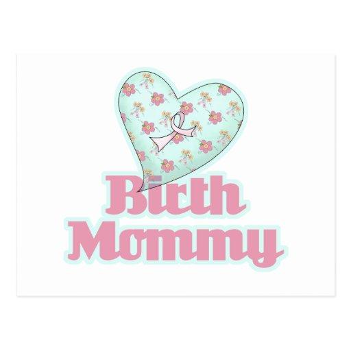 Corazón de la cinta del rosa de la mamá del tarjetas postales