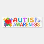 Corazón de la conciencia del autismo pegatina de parachoque