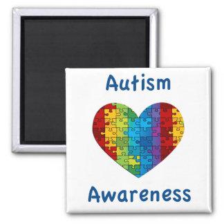 Corazón de la conciencia del autismo imán cuadrado