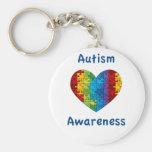 Corazón de la conciencia del autismo llavero personalizado