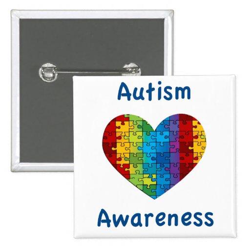 Corazón de la conciencia del autismo pin
