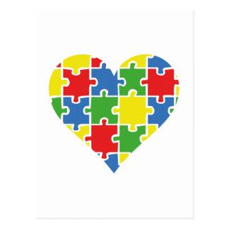 Corazón de la conciencia del autismo postal