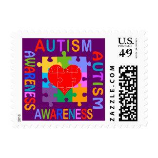 Corazón de la conciencia del autismo sellos