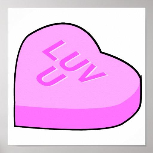 corazón de la conversación del caramelo del luv u impresiones