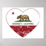 corazón de la costa de la bandera de California ap Poster