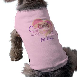 Corazón de la diva - personalizar playera sin mangas para perro