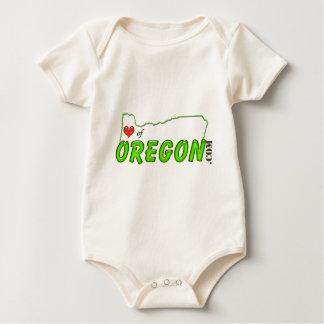 Corazón de la etiqueta de Oregon Mameluco De Bebé