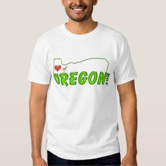Corazón de la etiqueta de Oregon Playeras