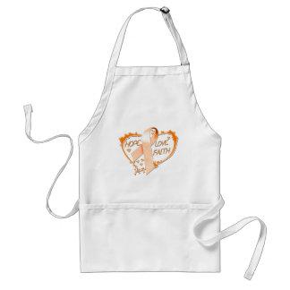 Corazón de la fe del amor de la esperanza (naranja delantales