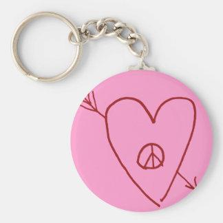 Corazón de la flecha de la paz y de amor llaveros