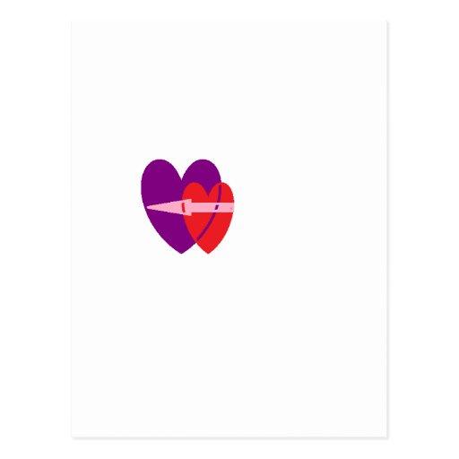 corazón de la flecha tarjetas postales
