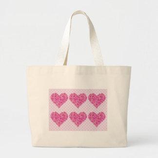 Corazón de la flor bolsa tela grande