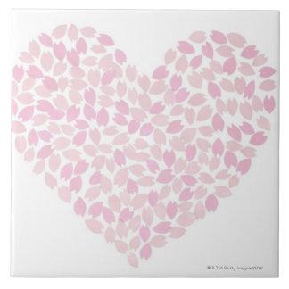 Corazón de la flor de cerezo tejas