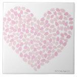 Corazón de la flor de cerezo azulejo cuadrado grande
