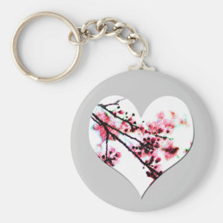 Corazón de la flor de cerezo llaveros personalizados