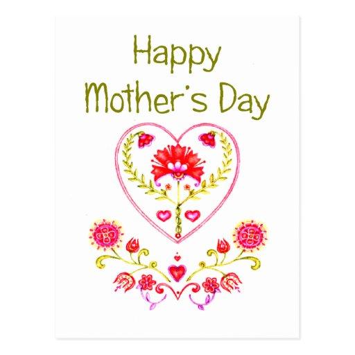 Corazón de la flor de la madre tarjeta postal