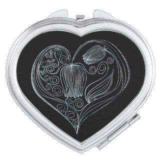 Corazón de la flor de la pizarra - espejo compacto