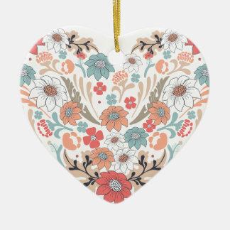 Corazón de la flor adorno de cerámica en forma de corazón