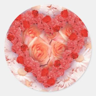 Corazón de la flor pegatina redonda