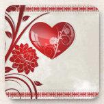 Corazón de la flor posavasos de bebida