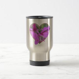 Corazón de la flor - rosa taza