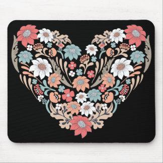 Corazón de la flor alfombrilla de ratón