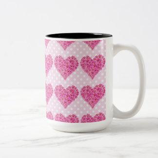 corazón de la flor taza de dos tonos