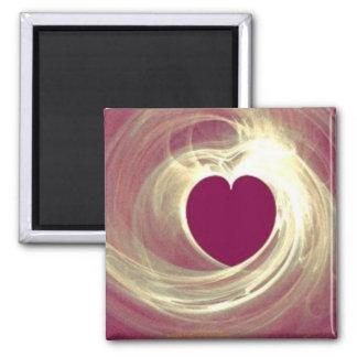 Corazón de la frambuesa imán cuadrado