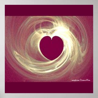 Corazón de la frambuesa póster