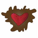Corazón de la fresa del chocolate esculturas fotográficas