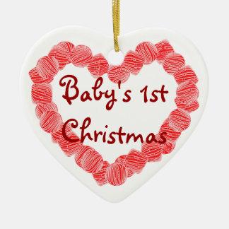 Corazón de la hierbabuena el 1r navidad del bebé adorno para reyes