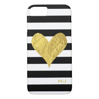 Corazón de la hoja de oro funda iPhone 7
