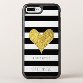 Corazón de la hoja de oro funda OtterBox symmetry para iPhone 7 plus