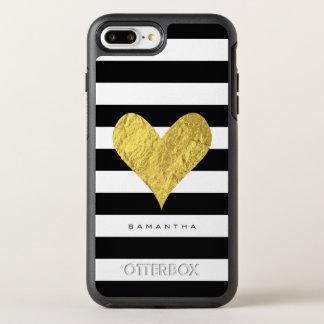 Corazón de la hoja de oro funda OtterBox symmetry para iPhone 7 plus