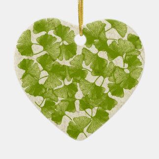 Corazón de la hoja del Ginkgo Adorno Navideño De Cerámica En Forma De Corazón