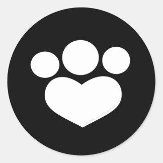 Corazón de la impresión de la pata negro de 1,5 pegatina redonda