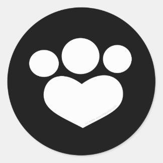 Corazón de la impresión de la pata negro de 3 pegatina redonda