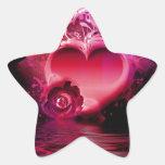 Corazón de la inundación pegatinas forma de estrellaes