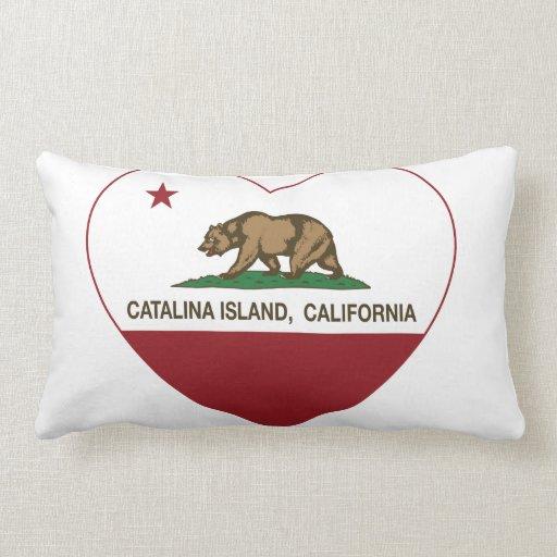 corazón de la isla de Catalina de la bandera de Ca Cojín