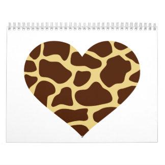 Corazón de la jirafa calendario de pared