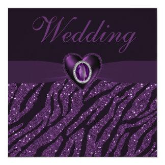 Corazón de la joya y boda impresos del brillo de comunicados personales