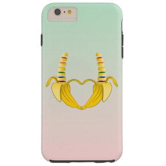 Corazón de la libertad del orgullo gay del plátano funda de iPhone 6 plus tough