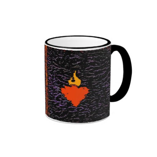 Corazón de la llama taza de dos colores