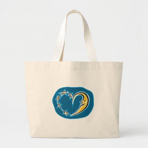 corazón de la luna y de las estrellas bolsas de mano