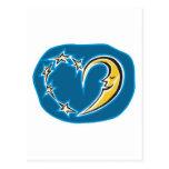 corazón de la luna y de las estrellas postal