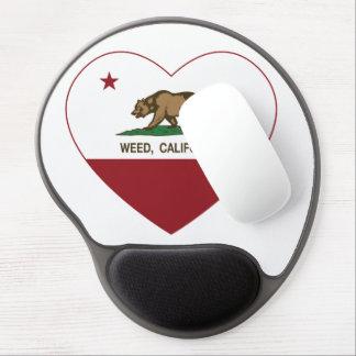 corazón de la mala hierba de la bandera de Califor Alfombrillas De Raton Con Gel