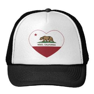 corazón de la mala hierba de la bandera de Califor Gorras De Camionero