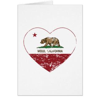 corazón de la mala hierba de la bandera de Califor Felicitaciones