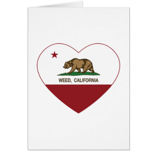 corazón de la mala hierba de la bandera de Califor Felicitacion
