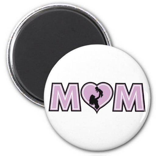 Corazón de la mamá de la lila imán de frigorífico